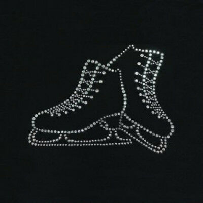 Iron On  Pair Of Crystal Ice Skates Toes Out For Skating Dress ,jacket Or Bags