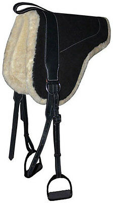 NEW Leather Suede BAREBACK SADDLE PAD With Stirrups
