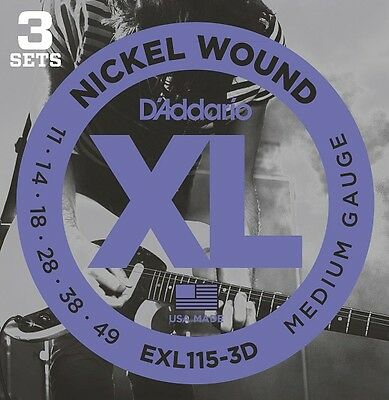 D'Addario EXL115-3D Electric Guitar Strings 11-49 (3 Set Pack).Full, Beefy Tone.