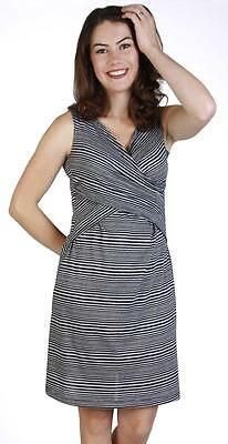 New Japanese Weekend Maternity Nursing Sleeveless Striped Cross Front Dress L 12