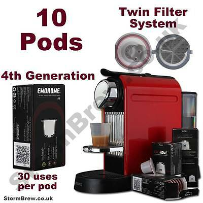 10 Refillable / Reusable Nespresso Machine Compatible Coffee Capsules Pods.