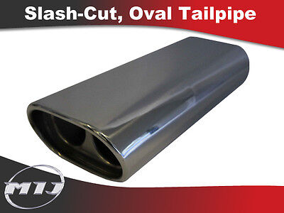 Universal Oval Stainless Exhaust Tailpipe Slash Cut Tip Twin Baffle TP-OV-SL-6
