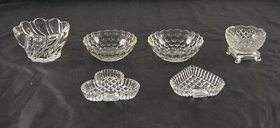 Lot of 6 Vintage Clear Glass Or Crystal Small Dishes Boopie Style Fostoria R3P2