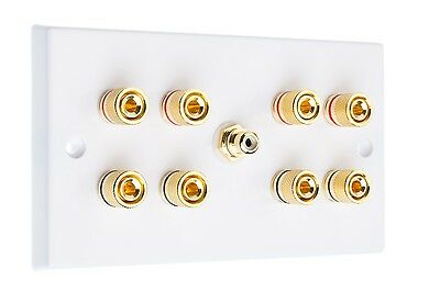 White 4.1 Surround Sound Speaker Wall Plate with Gold Binding Posts + RCA Socket