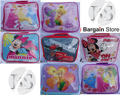 Childrens Girls N Boys Novelty Disney Character Fun Lunch Insulated Bags Various