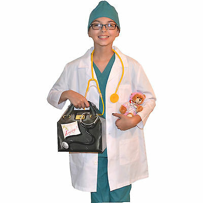 1456aaa67d4 Kids Doctor Costume with REAL Scrubs and Lab Coat, Stethoscope,Bear,Bag,
