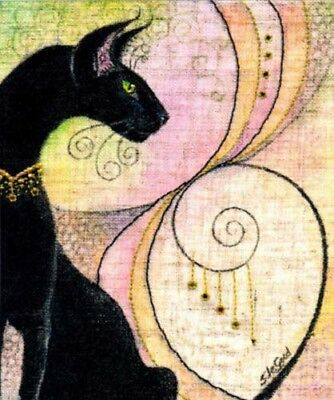 Ltd Edition  Oriental Black Cat Painting Print From Original By Suzanne Le Good