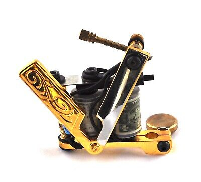 Cut Throat Razor Shader Tattoo Gun/ Machine With 10 Wrap Dollar Coils