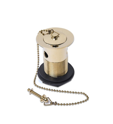 Gold Basin Waste Plated On Brass Metal Finish Plug Chain Stay Slotted Free P+P