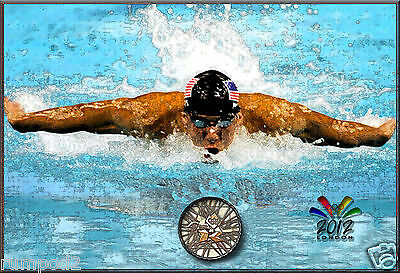 Olympic Poster/Print/2012 London Summer Games - Michael Phelps Swimming for Gold