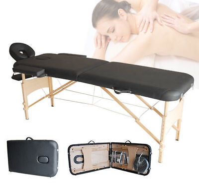 Portable Massage Table Beauty Therapy Tattoo Spa Couch Bed 2 Section Wooden Legs