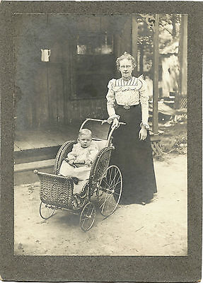 Victorian Woman In Glasses With Baby In Wicker Pram  & Original Antique Photo