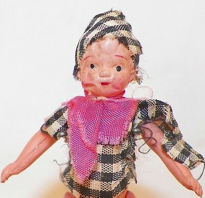 Little Boy Celluloid Dollhouse Doll Plaid Clothes Painted Shoes Vintage CUTE