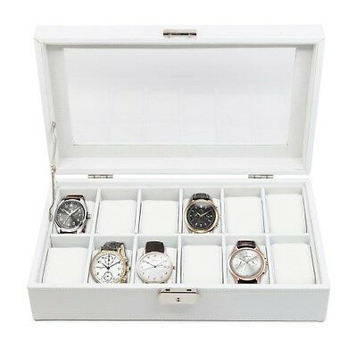 12 (10 + 2) White Leather Womens Mens Watch Jewelry Storage Display Case Box