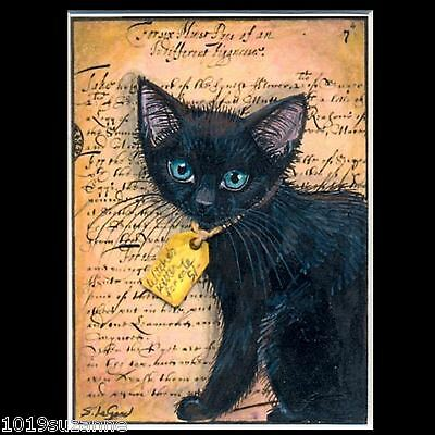 Aceo Limited Edition Witch Black Cat Kitten Painting Print By Suzanne Le Good