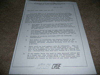 Motley Crue RARE 1981 Personal Papers Notes TFFL Contract Copies
