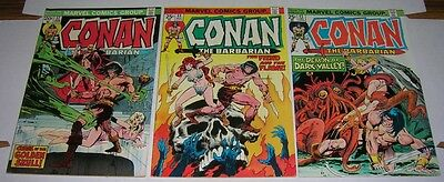 CONAN THE BARBARIAN #s 37, 44 & 45 (Marvel Comics 1974) Neal Adams issues! (FN-)