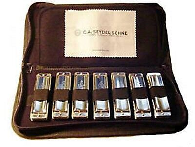 Seydel 1847 Classic or Silver 7 Harmonica Set With Case - STAINLESS STEEL REEDS