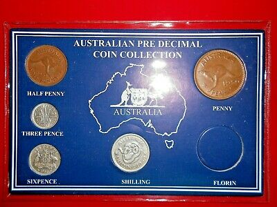 1950 AUSTRALIAN Pre Decimal 5 coin set IN SPECIAL CARD (very Nice) BIRTHDAY GIFT
