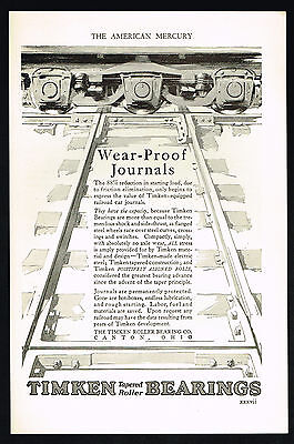 1927 Timken Bearings Wear Proof Journal Railroad Car Print Ad