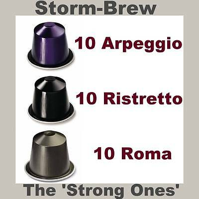 30 NESPRESSO 'The Strong Ones' COFFEE CAPSULES PODS, ESPRESSO. Ristretto Roma Ar