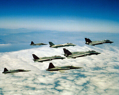 Us Navy F-14 Tomcats/vf-111 Sundowners/ F-5E/f Tiger Ii 8X10 Photo Top Gun Movie