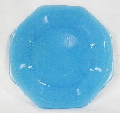 Vintage Blue Akro Agate Octagonal Plate fr Childs Tea Set American Maid Large