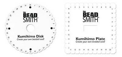 """2 KUMIHIMO Braiding PLATES ~ TWO DISC LOT One 6 inch ROUND + One 5-1/2"""" SQUARE"""
