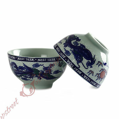 Lots of Chinese Gongfu Tea Porcelain Dragon play with phoenix Teacup cup 40ml