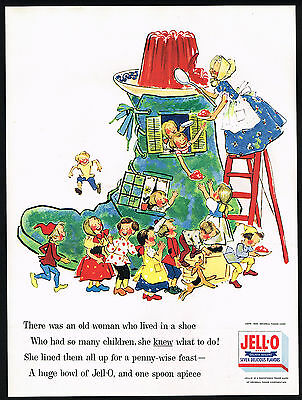 1955 Jell-o Gelatin Old Woman In Shoe Children's Rhyme Jello Ad