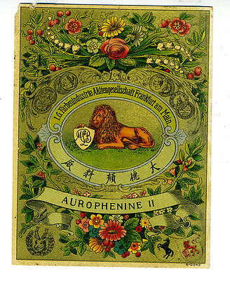 Beautiful Old German Tobacco Label Sold in China with Lion Aurophenine II