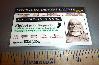 bigfoot aka Sasquatch Drivers License cool collectible from California!