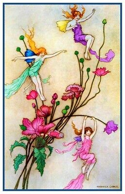 Fairy Mother of Pearl Baby Cradle by  Warwick Goble Counted Cross Stitch Pattern