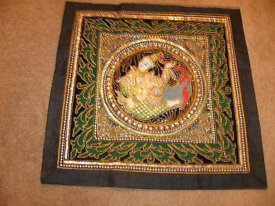 "Kalaga Tapestry Lady Thailand Beads Sequins  20"" x 20"" Beautiful"