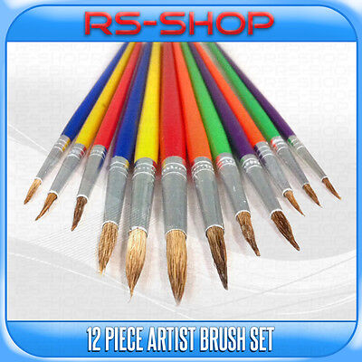 Artist Paint Brushes Brush 12 Piece Set Tipped Different Size Plastic Handle
