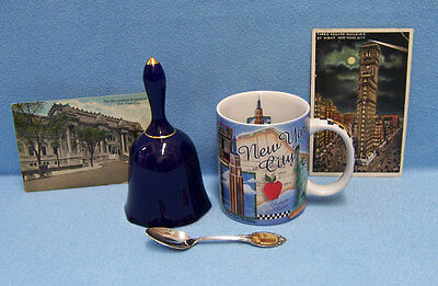 Vintage New York Souvenirs Coffee Mug Bell Spoon and 2 Postcards Lot of 5