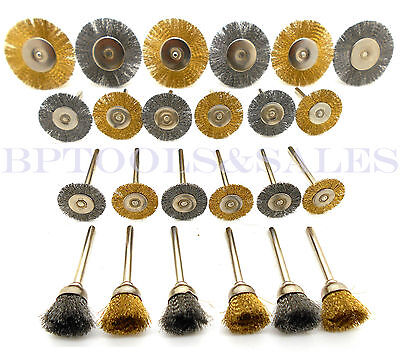 "24PC Mini Brush Set 1/8"" Shank Wire Brush Brass Cup Wheel DREMEL or Drill NEW"