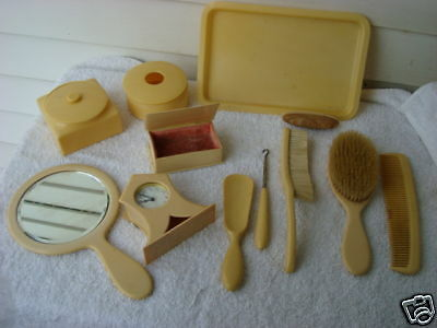Antique French Ivory--Celluloid  11 Piece Vanity Items 1900s (without clock)