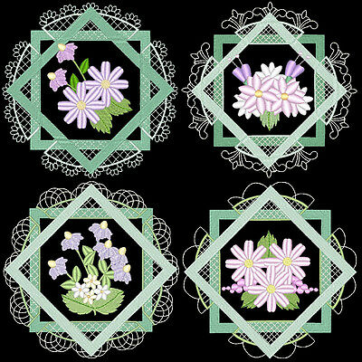 Lacy Flower Frames - 36 Machine Embroidery Designs (Azeb)