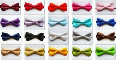 Boy/Kid/Child/Toddler Pre-Tied Wedding Party Plain Satin Necktie Bow Tie New
