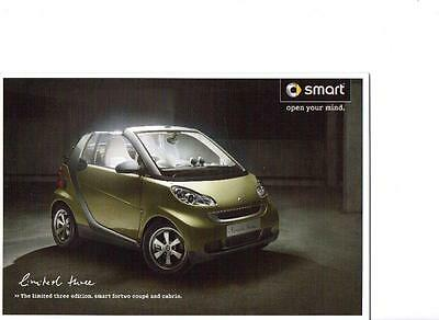 Smart Special Edition Limited Three Fortwo Coupe And Cabrio Sales Brochure 2009