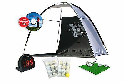 Golf Driving Practise Net + Multi Sports Radar + Grass Mat + 24 Golf Balls