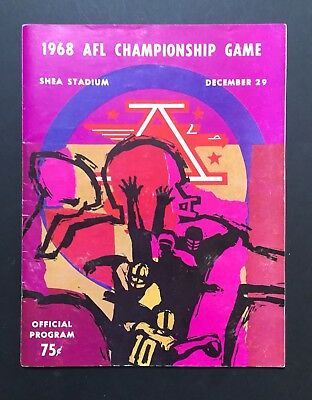 1968 AFL Championship Game Official Program Shea Stadium Ny Jets Joe Namath