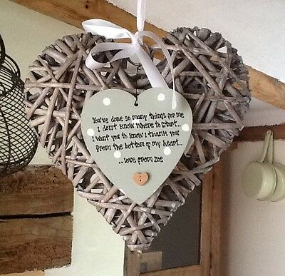 Shabby Personalised Chic EXTRA LARGE Heart Willow Special Thank You Gift Present