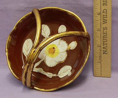 Vintage Italy Italian Pottery Ceramic Trinket Dish w/ Handle Brown White Flower