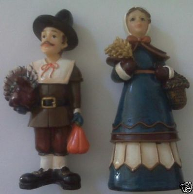 Rare~Lovely Pilgrim Couple~With Wheat & Turkey