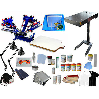 4 Color 1 Station Screen Printing Press Kit Flash Dryer/ Exposure & Hand Tools