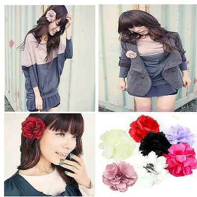 1PC Lady Girl Satin Peony Flower Hair Clips Brooch New high quality