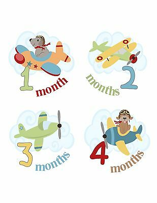 Monthly Baby Boy Girl Photo Stickers Airplanes DOGS  ADORABLE Keepsake Gift Mom