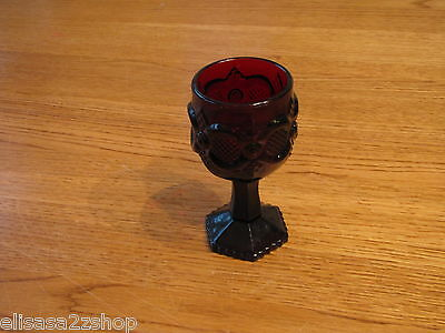Avon 1876 Cape Cod sherry ruby red goblet wine glass pedestal garnet RARE tiny